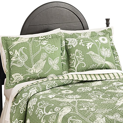 Paisley Standard Sham (Paisley Birds and Floral Print Pillow Sham, Sage,)