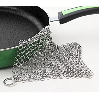 LauKingdom Cast Iron Cleaner - XXL 8x8 Stainless Steel Chainmail Scrubber