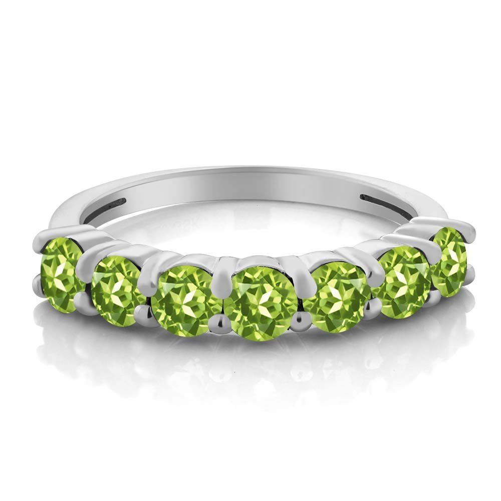 1.26 Ct Round Green Peridot 925 Sterling Silver Anniversary Ring by Gem Stone King (Image #2)