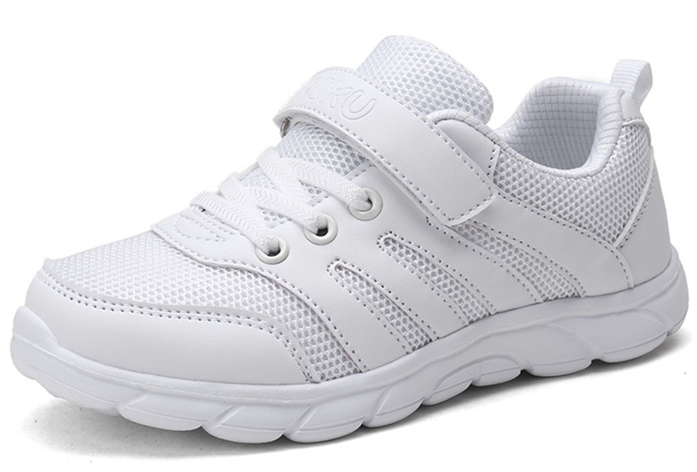 VECJUNIA Kids Fashion Sports Shoes Solid Breathable Non-Slip Running (White Mesh, 9.5 M US Toddler)