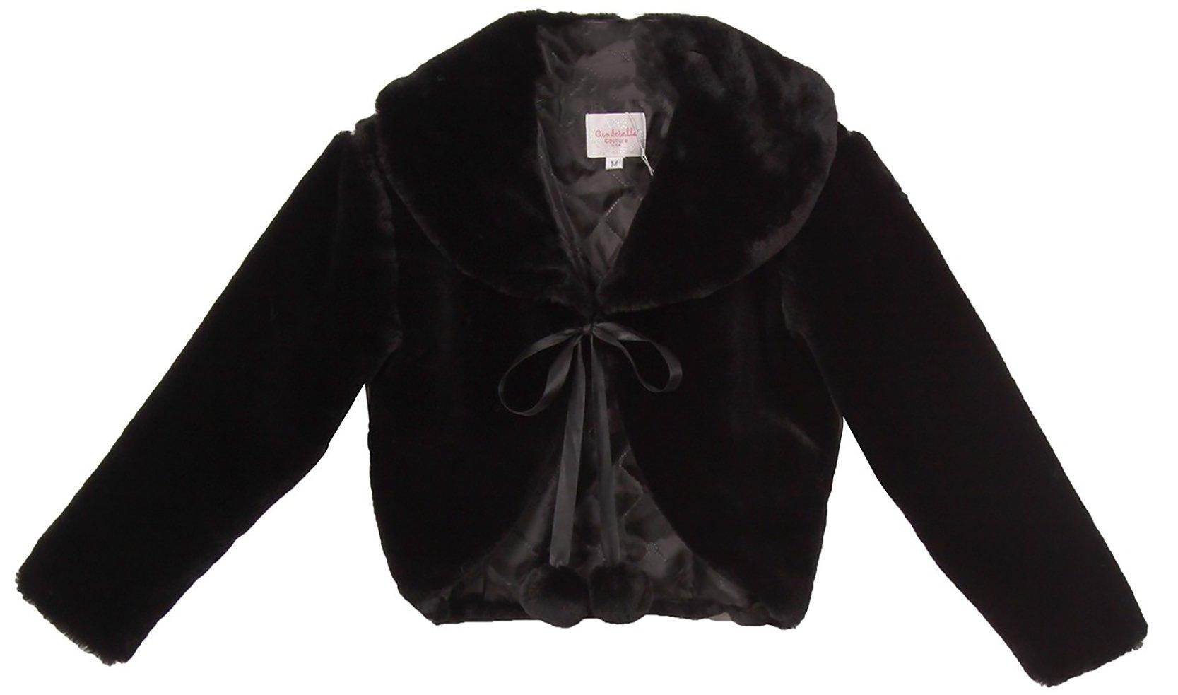 BNY Corner Beautiful Flower Girl Long Sleeve Soft Winter Fur Coat Jacket For Little Girl Black S CC3011