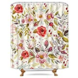 Pink Flower Shower Curtain Hooks Riyidecor Pink Floral Shower Curtain Free Metal Hooks 12-Pack Rose Flower Green Leaf Spring Shower Curtain Panel Polyester Waterproof Fabric 72x72 Inch
