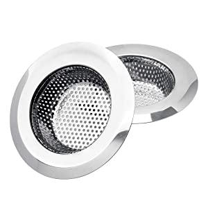 Uneslyck 2PCs Premium Kitchen Sink Strainer, Anti-Clogging Stainless Steel Sink Disposal Stopper, Perforated Basket Drains Sieve for Kitchen Sink Drain - Large Wide Rim 4.5'' Diameter/Silver/Polished