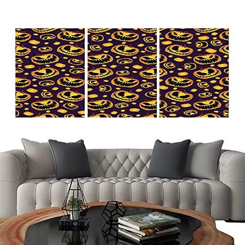(UHOO Modern Canvas Painting Wall Art Scary and Spooky Halloween Pumpkin Seamless Halloween Pattern4. Triple Art Stickers)