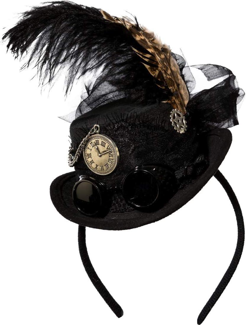 Noir Amakando Mini Chapeau Haut-de-Forme /él/égant Cyber Gothique avec Serre-t/ête Un Attrape-Regard au Carnaval /& /à la f/ête d/éguis/ée Bijoux de Cheveux raffin/é Steampunk pour Femme