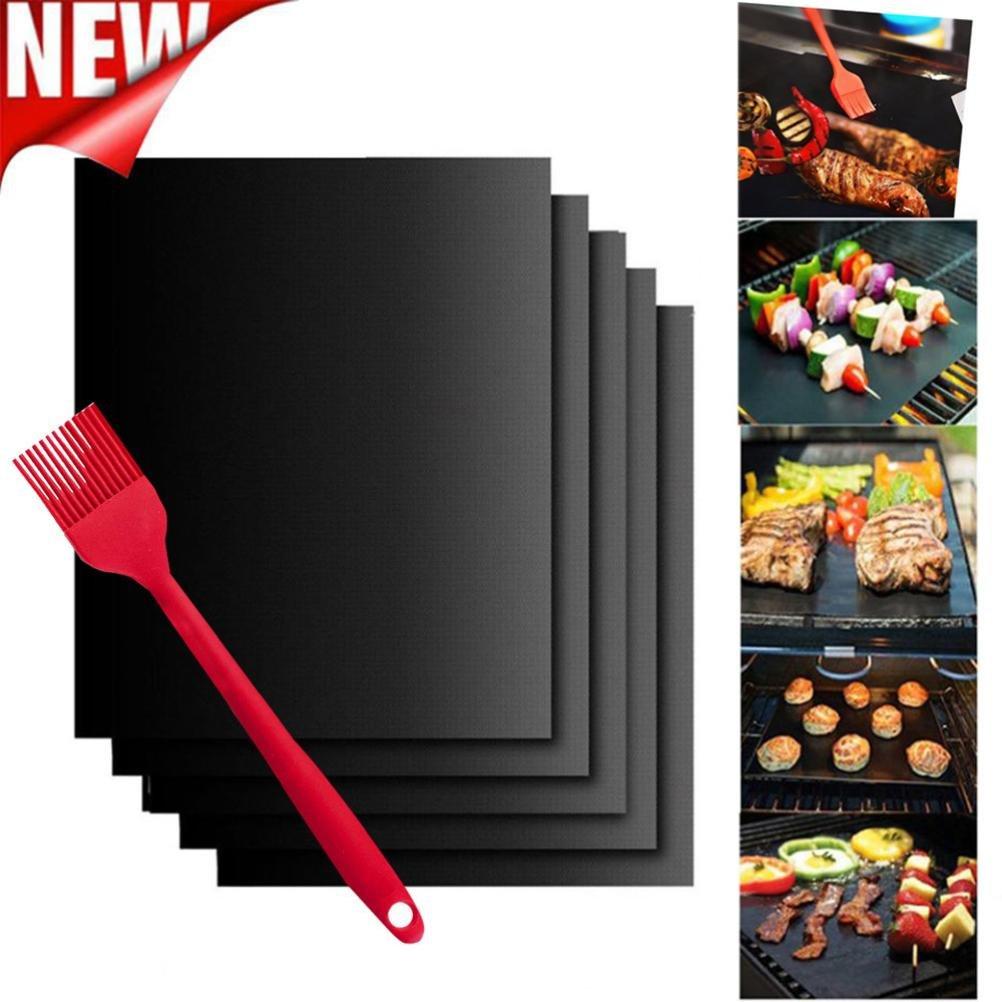 Ouneed/® 5pcs Tapis de Barbecue 400*330*0.2mm Noir Pinceau dHuile