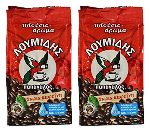 Loumidis Greek Lees Coffee Papagalos Traditional Decaf 2 Pack (3.4 Ounces)
