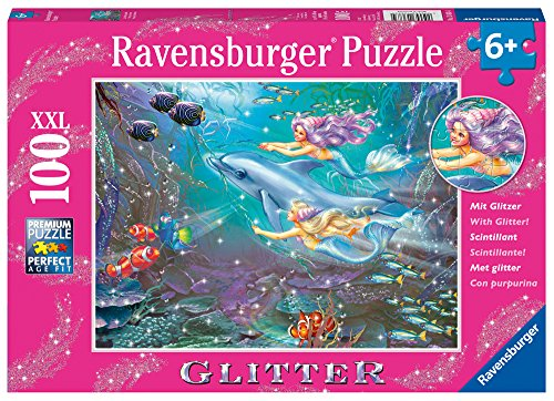 Ravensburger -Little Mermaids - 100 Piece Glitter Jigsaw Puzzle for Kids - Every Piece is Unique, Pieces Fit Together Perfectly