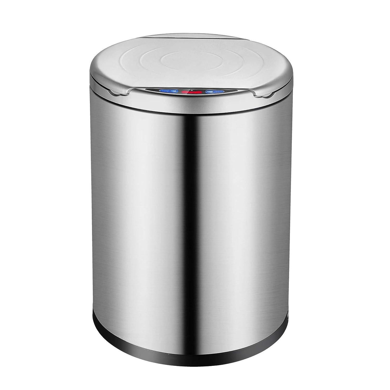 oppinty Edelstahl intelligente induktion mülleimer Hause Wohnzimmer Schlafzimmer küche Bad elektrische infrarot mülleimer Moonlight Silber 12 Liter Lade Version