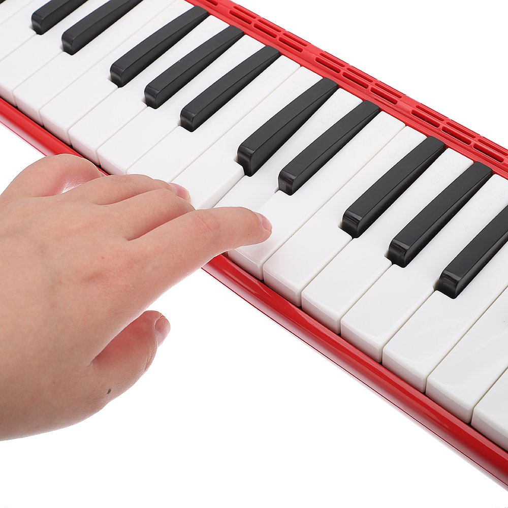 Festnight 37 Key Melodica Mouthpiece Bag Piano Style Pianica with Carrying Bag and Cleaning Cloth 37-Key Portable Melodica Red by Festnight (Image #3)
