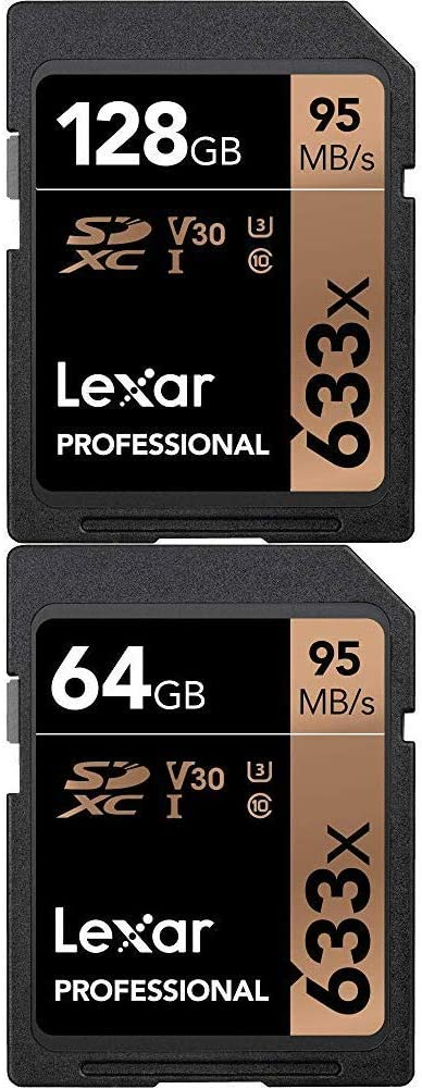 Lexar Professional 633x 128GB SDXC UHS-I Card and Professional 633X 64GB SDXC UHS-I Card