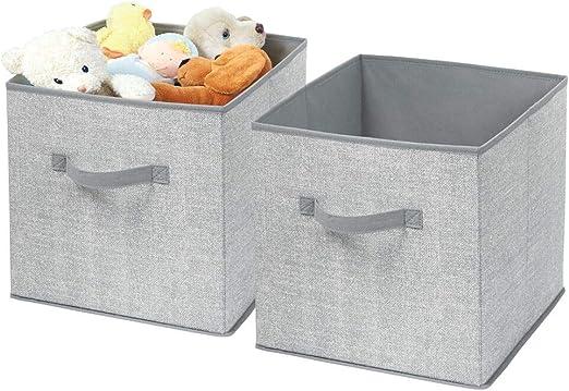 mDesign Cajas almacenaje Juego de 2 – Cajas almacenaje Ropa, Toallas, sábanas – Ideales Cajas organizadoras para un Orden óptimo – Color: Gris: Amazon.es: Hogar