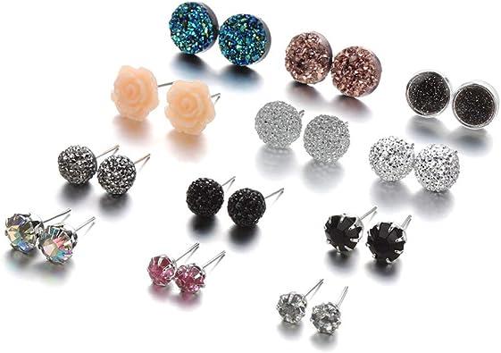 Weiy Boucles doreilles Disco Ball Set Boucles doreilles Collier et Boule de Cristal pour Les Femmes