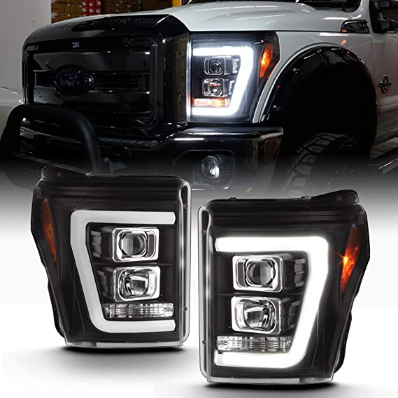 For 2011-2016 Ford F250 F350 F450 F550 Superduty LED Tube Chrome Projector Headlights Driver+Passenger Pair