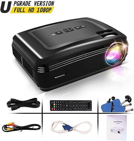 Proyector Full HD, Proyectores LCD de 3300 Lúmenes con altaveces Proyector Video Portátil Projector LCD Home Cinema Apoyo 1080 HDMI VGA USB para PC Portátil TV Videojuegos Hogar PS3 XBO X360: Amazon.es: