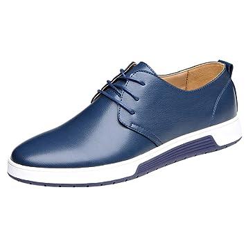 LuckyGirls Zapatos de Cuero para Hombre Negocio Zapatillas Casual Hombres Clásico Moda Cómodas Calzado Andar Planos Bambas Zapatos de la Boda con Cordones: ...