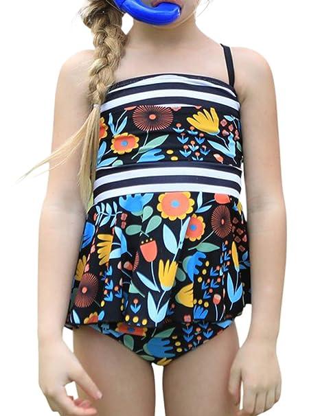 d374dccb0e1 CILKOO Girls Floral Print Ruffle Trim Tankini Swimsuit Set High Waist  Peplum Two Piece Bathing Suits