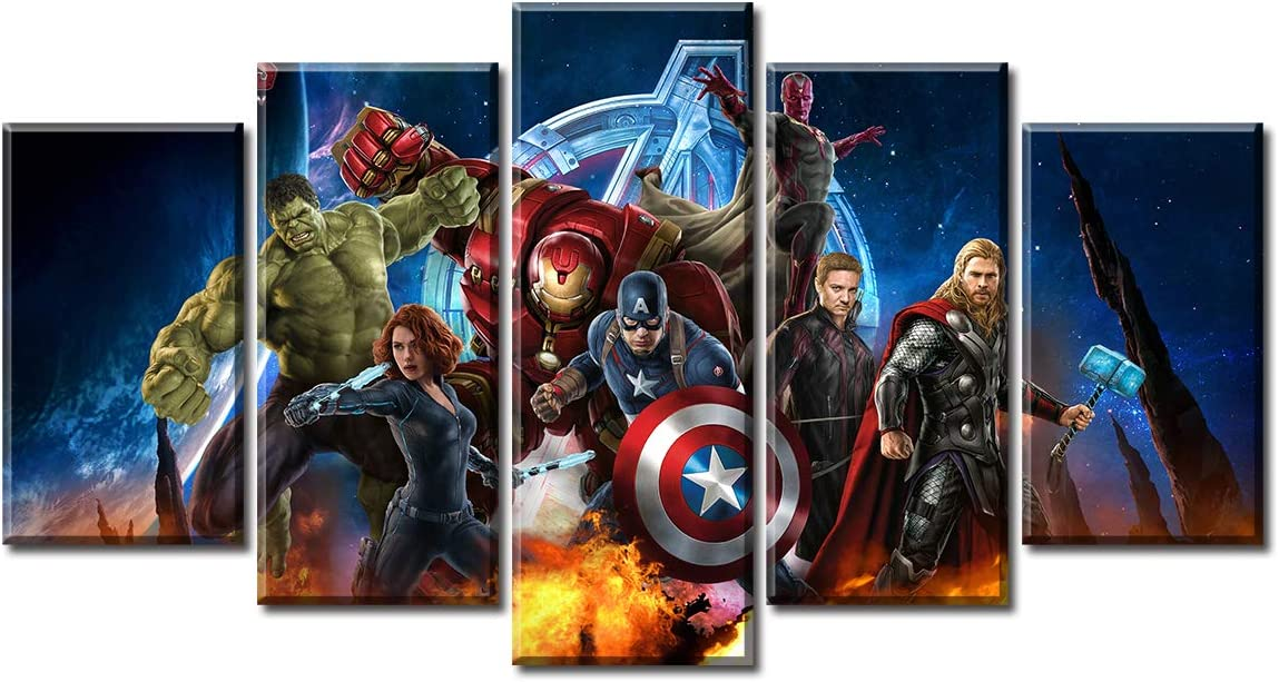 DJSYLIFE 5 Piece Super Hero Canvas Wall Art Painting for Living Room Home Decor Movie Poster Stretched Framed Ready to Hang