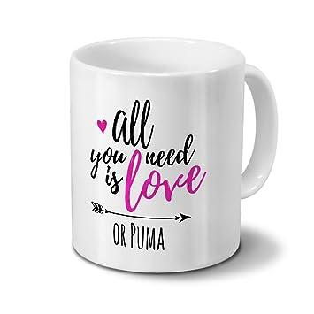 aff0ef0ace7 Tasse mit Namen Puma - Motiv All You Need Is Love - Namenstasse,  Kaffeebecher,