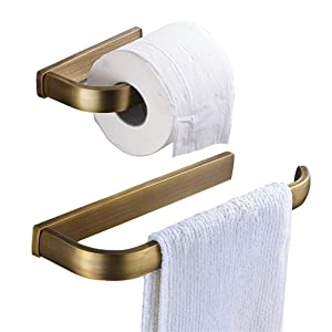 BigBig Home Solid Antique Brass Finish Brass Material Toilet Roll Paper Holders Towel Ring Hangers 2-Piece Bath Collection Set Wall Modern Mount