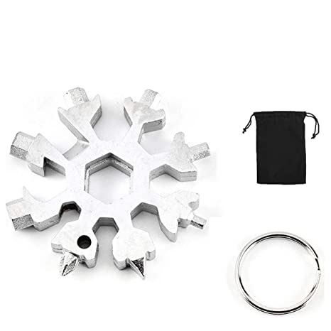 Lomio 18-en-1 multi-herramienta copo de combinada, acero inoxidable llavero + bolsa de tela negro portátil (plata), especialmente para deportes al ...