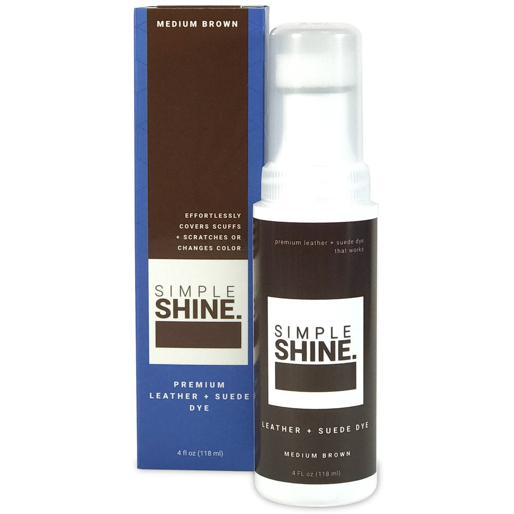 Simple Shine Premium Medium Brown Suede and Leather Dye | Built in Applicator Sponge to Repair Scuffed Damaged Shoes Bags and More| 4oz