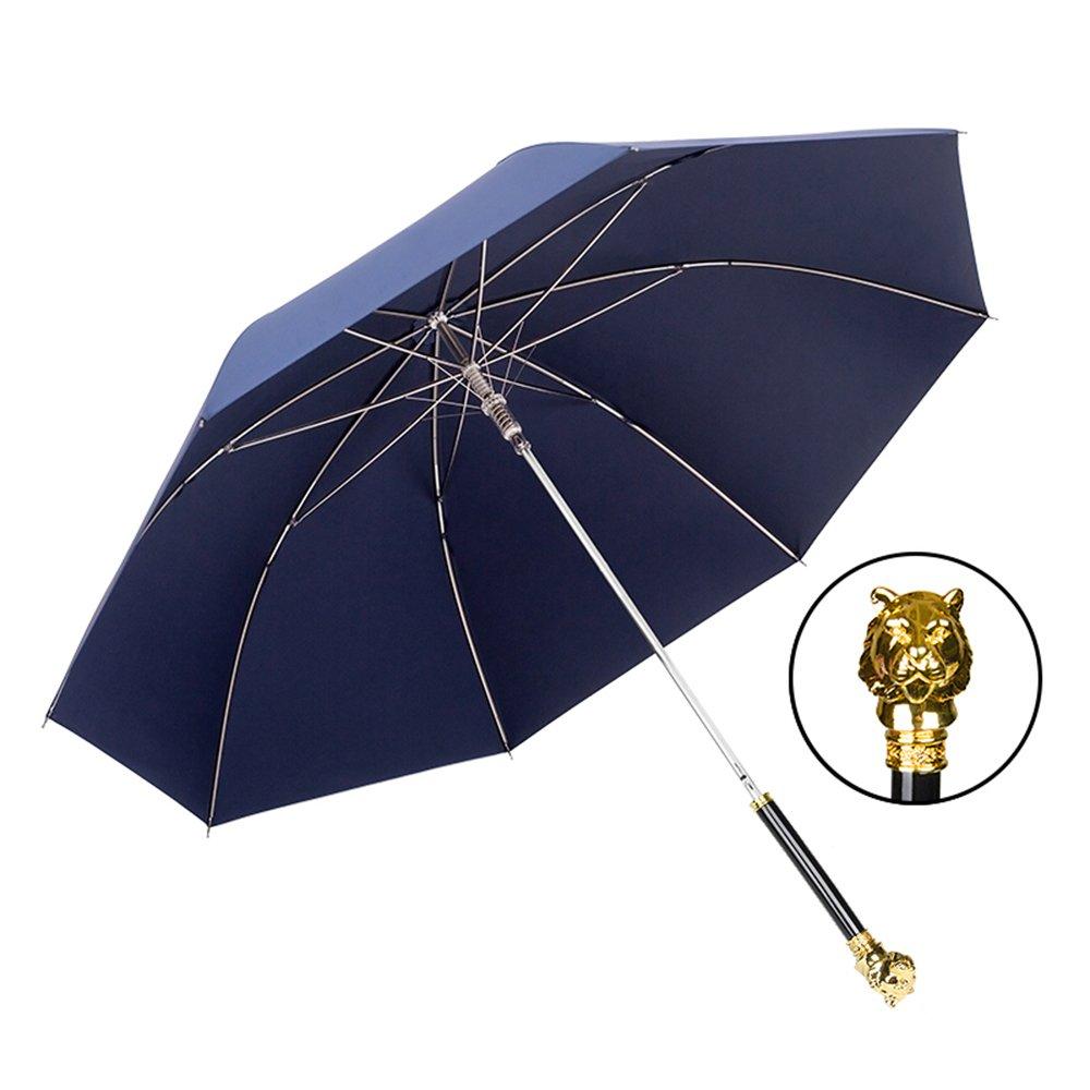 XRXY 創造性ヒョウの頭/ロングハンドルの傘/シンプルな純粋な男性のパーソナリティコマースのパラソル/デュアルユースの高級サンの傘 ( 色 : Dark-Blue , サイズ さいず : A ) A Dark-Blue B07C73GSNV