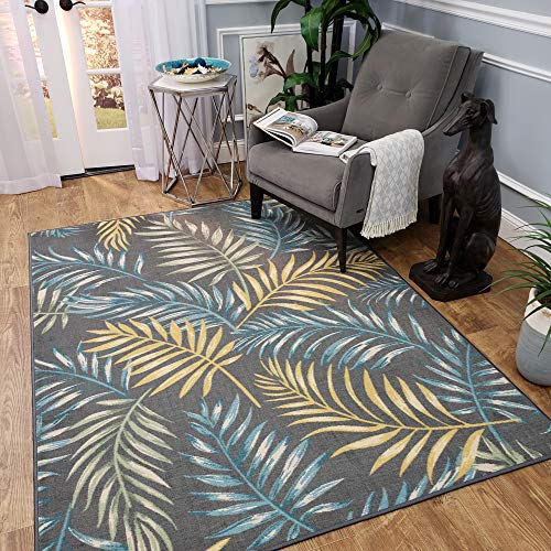 Anti-Bacterial Rubber Back Area Rugs Non-Skid/Slip 3x5 Floor Rug | Solid Coal Black Color Indoor/Outdoor Thin Low Profile Living Room Kitchen Hallways Home Decorative Traditional Rug