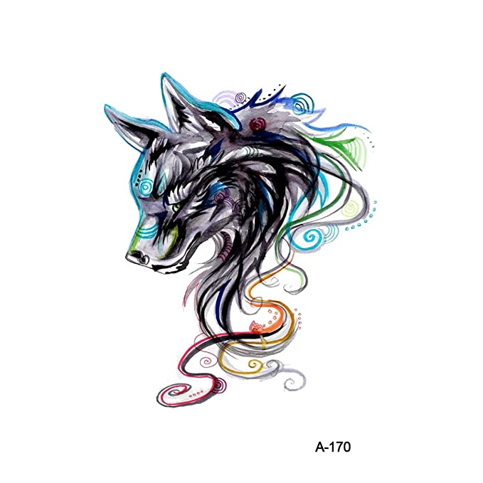wyuen 5 pcs Watercolor Wolf Tatuajes Temporales adhesivo para ...