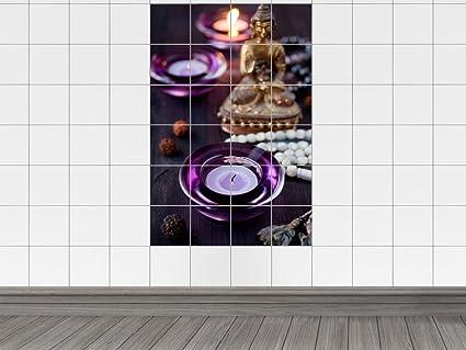 Piastrelle adesivo piastrelle immagine viola tè luce thailandia per