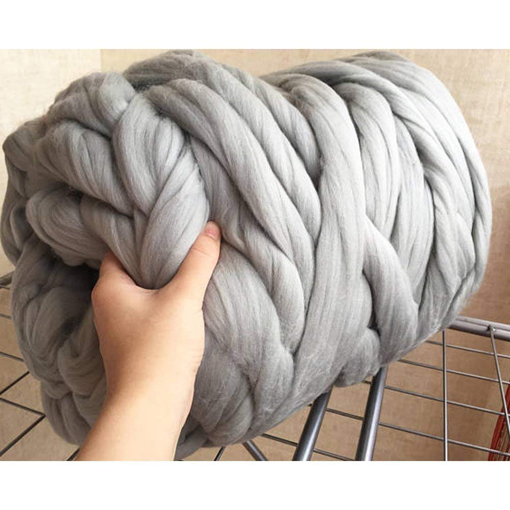 clootess Bulky Chunky Yarn Big Roving Wool for Hand Made Knitted DIY Sofa Bed Throw Blankets Light Grey 8 lbs = 3.6 kg by clootess (Image #2)