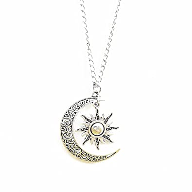 Vintage style moon and sun silver filigree pendant necklace long vintage style moon and sun silver filigree pendant necklace long necklace mozeypictures Images
