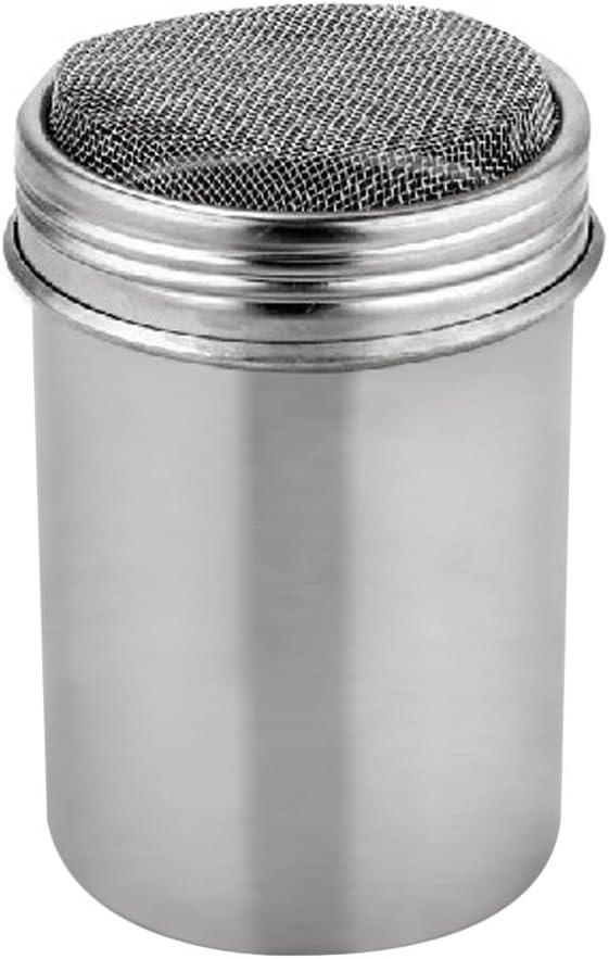 ステンレス鋼パウダーシェイカー、メッシュShakerパウダー缶コーヒーココアシナモンパウダー蓋、with 16個印刷のモールドステンシル