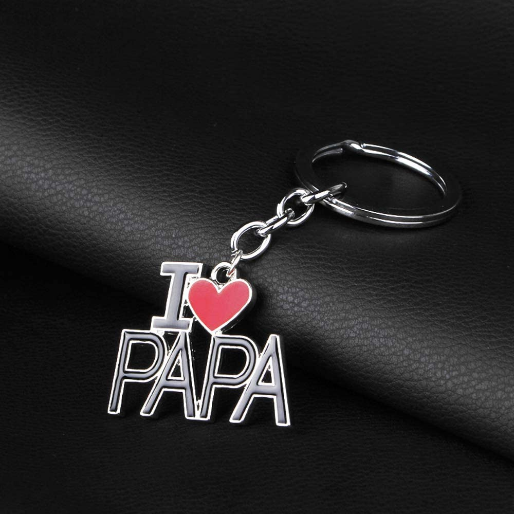 Porte-cl/és du P/ère Grav/é I Love Dad//Papa pour Hommes Cadeau Sp/écial de Remise des Dipl/ômes pour Un Anniversaire daffaires