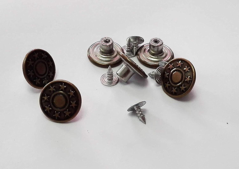 6 Boutons Pressions Clic JEANS Coloris Bronze 17 mm