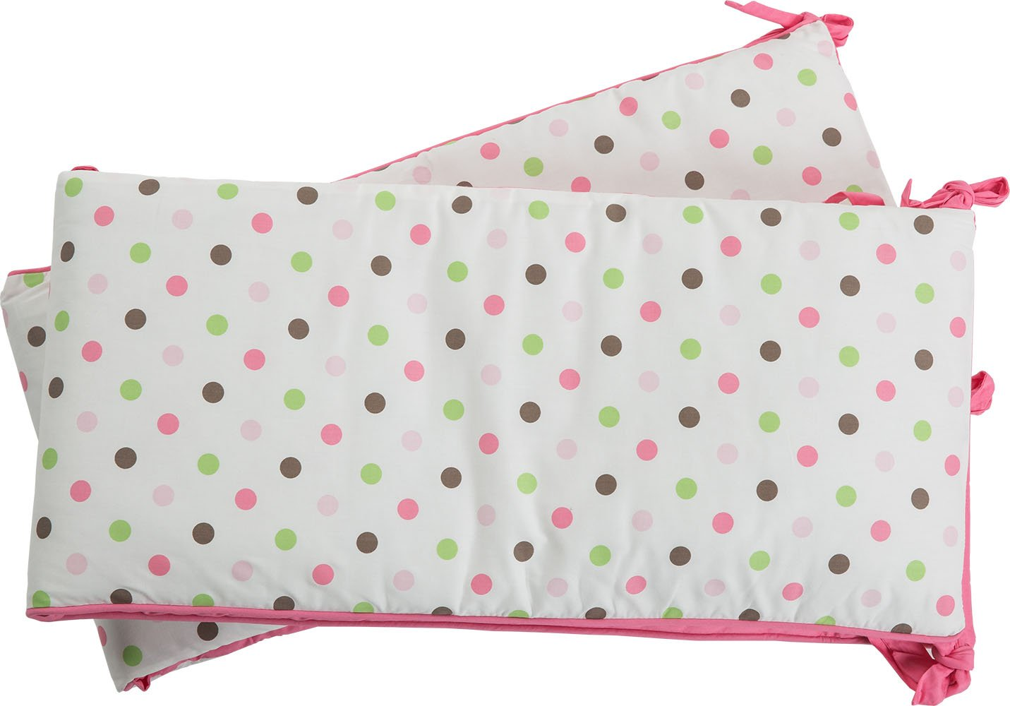 i-baby Cot Bumper Sets Baby Bedding Wrap Around Safety Protection For Baby Girls Bed With Head Guard Polka Dot Printed Crib Bumpers Kindergarten Nursery Pink 100% Cotton 2Pcs(30cmx68cm) + 2Pcs(30cmx130cm)