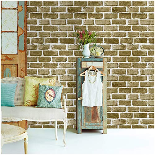 HaokHome 62053 Faux Brick Peel and Stick Wallpaper Khaki/Brown/Off White Self Adhesive Contact Paper (Texture Wallpaper Brown Faux)