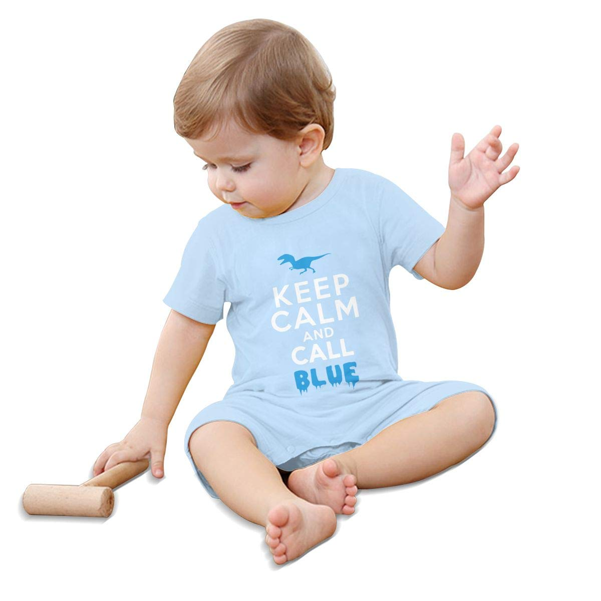 YINGFG Baby Boys Girls Short Sleeve Jumpsuit Keep Calm and Call Blue Cotton Romper