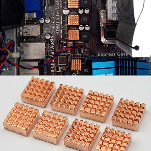 LISRUI 8 Pcs Copper Heatsink CPU Heatsink Motherboard Cooling Fin Memory Bank Coolor Video Memory Components Motherboard Copper ()