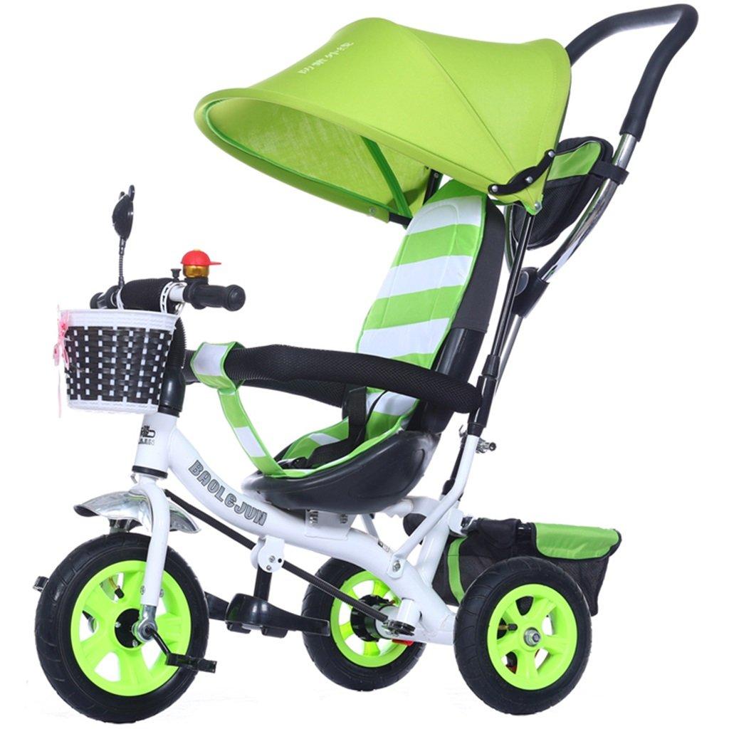 KANGR-子ども用自転車 多機能4-in-1チャイルド三輪車キッドトロリープッシュハンドルステーラー自転車折り畳み式抗UV日よけ| 1-3-6歳の少年少女と赤ちゃんのおもちゃ|ブレーキ付3輪バイク|グリーン ( 色 : C型 cがた ) B07C9T74NTC型 cがた