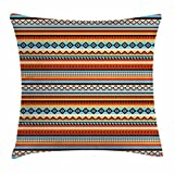 native girl seat covers - Native American Throw Pillow Cushion Cover by Lunarable, Ethnic Aztec Pattern Chevrons Arrow Heads Rectangles Tribal Motifs Design, Decorative Square Accent Pillow Case, 26 X 26 Inches, Multicolor