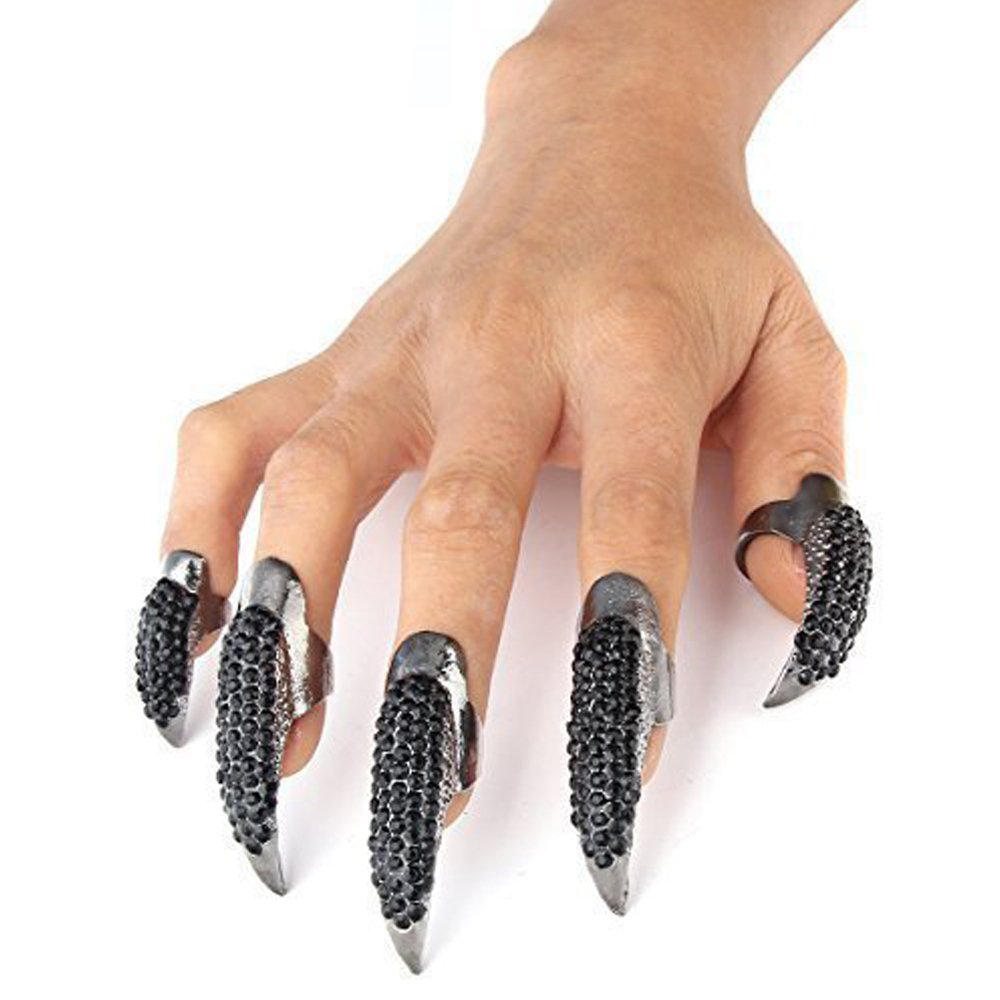 LOHOME Set of 5-pieces Retro & Punk Finger Eagle Claw Ring - Bend Crystal Rhinestone Paved Fingertip Paw - False Nails Set for Halloween & Cosplay by LOHOME