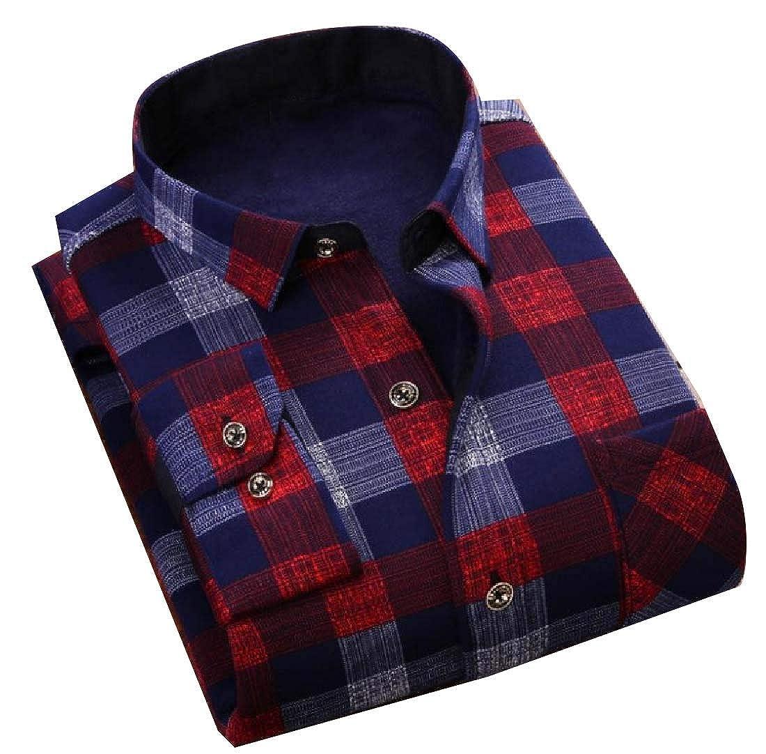 Vska Mens Slim Fit Button Down Fleece Warm Business Long Sleeve Shirt