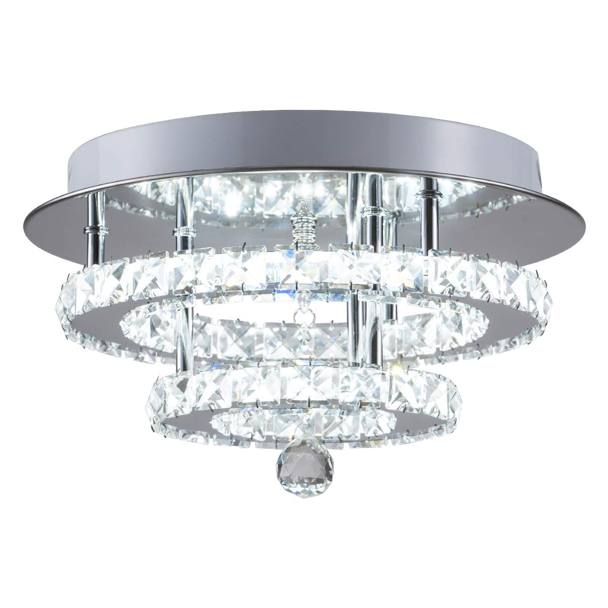 KAI Crystal Ceiling Light Flush Mount Modern Luxury Not Dimmable LED Chandelier Lamp with 6000K 30W 120LM/W SMD5730 60LEDs Lighting for Bedroom Foyer Entry Dining Room(Chrome Round, 1 Pack) by Kai