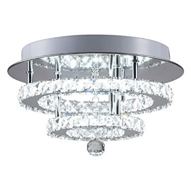Kai Crystal Ceiling Light Flush Mount Modern Luxury Not Dimmable Led Chandelier Lamp With 6000 K 30 W 120 Lm/W Smd5730 60 Le Ds Lighting For Bedroom Foyer Entry Dining Room(Chrome Round, 1 Pack) by Kai