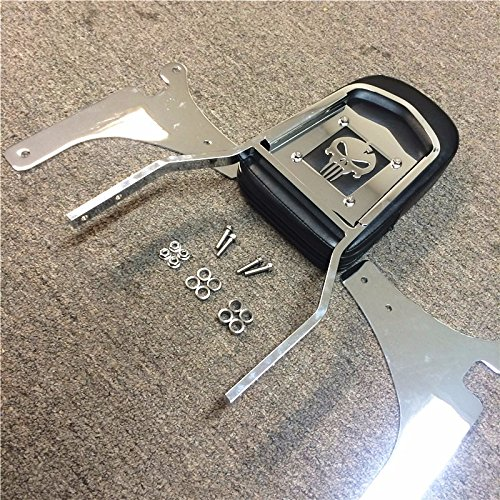 HK MOTO- Flame Backrest Sissy Bar Leather Pad For 1996-2005 Kawasaki Vulcan 800 Classic Chrome Steel