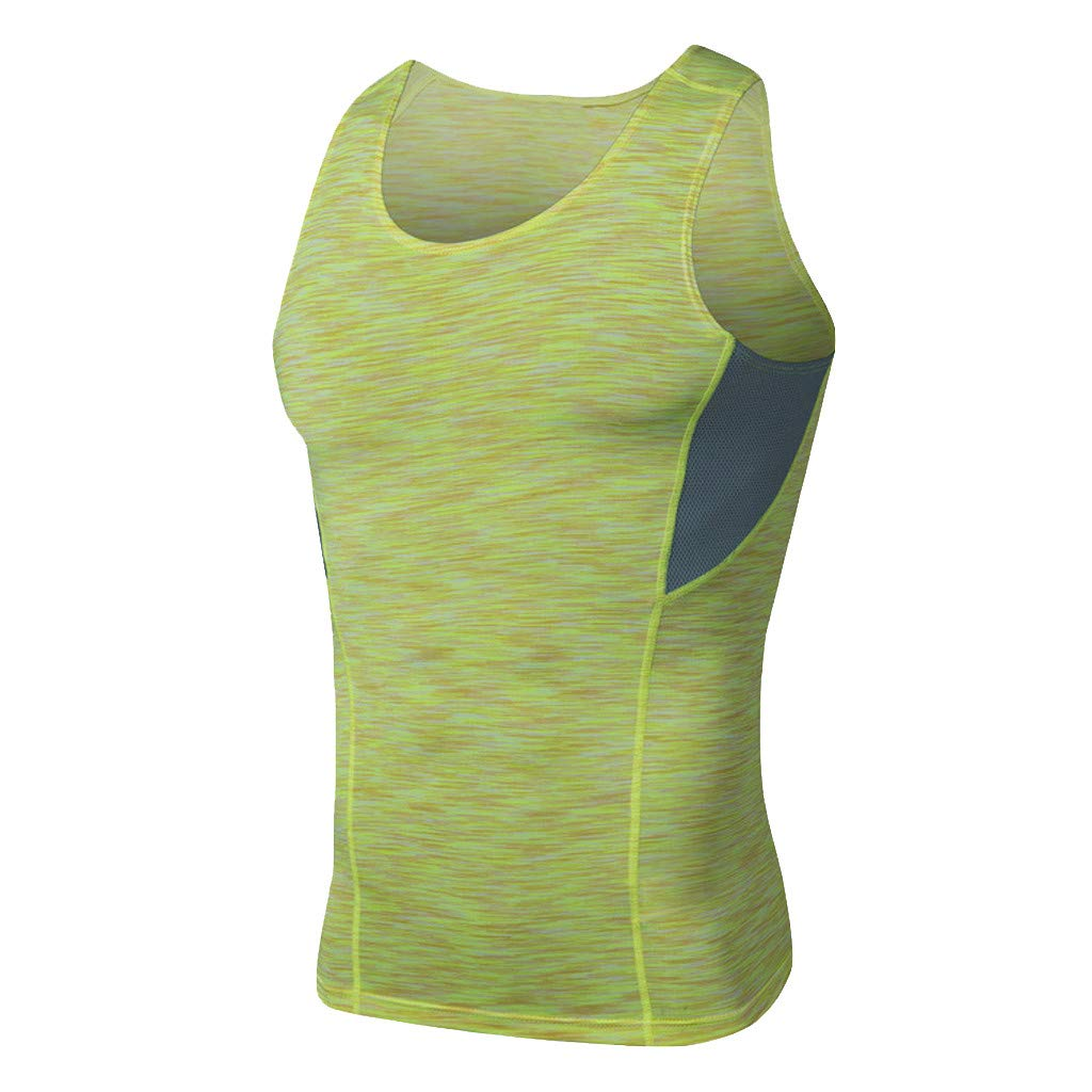 Men's Sports Vest Sleeveless Bodybuilding Tee Workout Shirt Fitness Fast-Dry Breathable Tanks Tops (XL, Yellow)