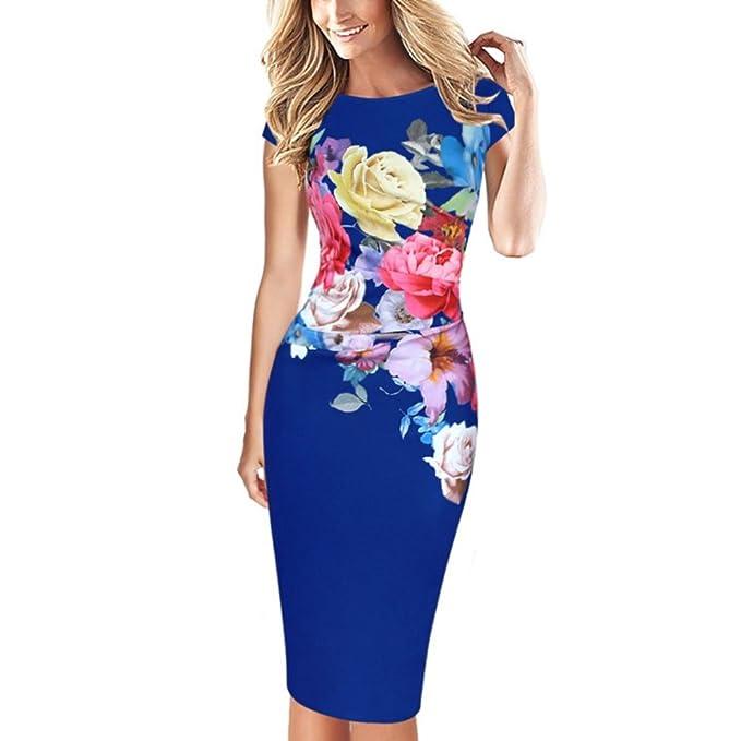 EFINNY Damen figurbetontes Kleid Dame Blumen formale Partei ...