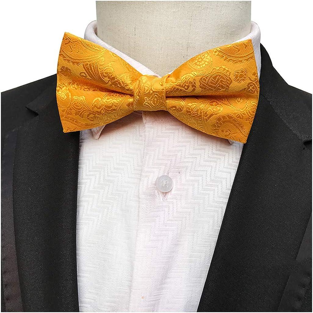 BESMODZ Mens Paisley Floral Microfiber Pre-Tied Bowtie Wedding Business Bow Tie