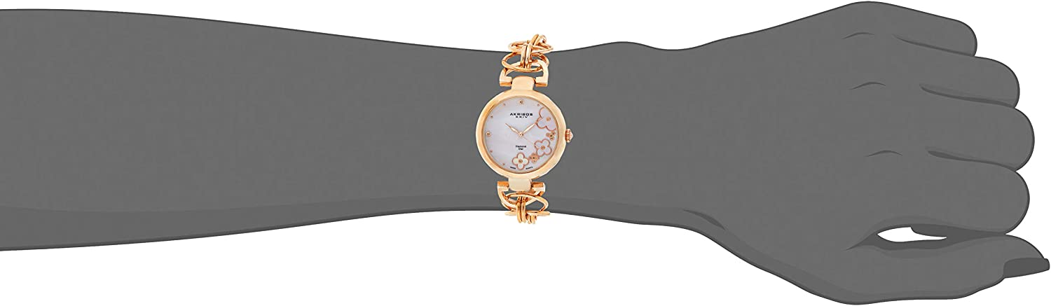 Akribos XXIV Women's Lady Diamond Watch - 14 Genuine Diamonds On a Mother-of-Pearl Dial with Chain Link Bracelet Watch - AK645 Rose Gold